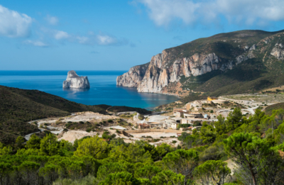 Panorama view of Masua on the west coast of Sardinia, Italy